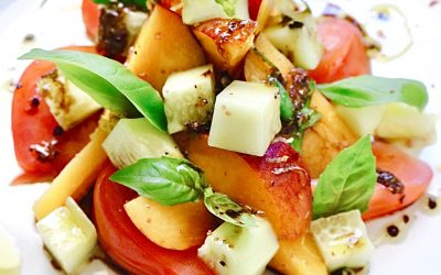 Fresh Peach, Cucumber, and Tomato Summer Salad